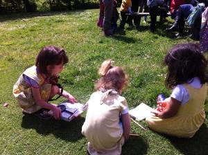 sketching yellow girls